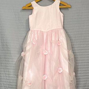 Pink Fluffy Flower Kids Dress